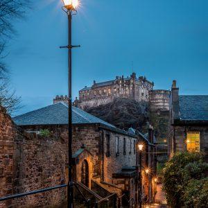 Edinburgh, The Vennel, Edinburgh Castle, blue, rain