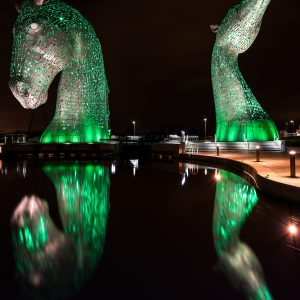 Kelpies in green Falkirk Scotland