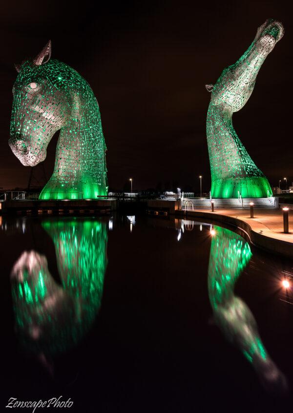Kelpies in green Falkirk Scotland