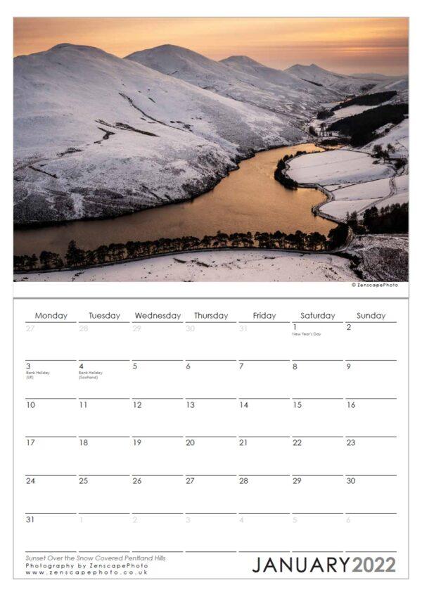 Edinburgh Calendar 2022 Pentland Hills sunset Scotland