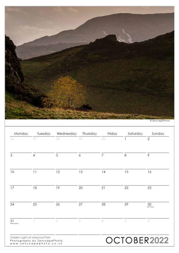 Edinburgh Calendar 2022 Holyrood PArk Golden light, Edinburgh sunset.