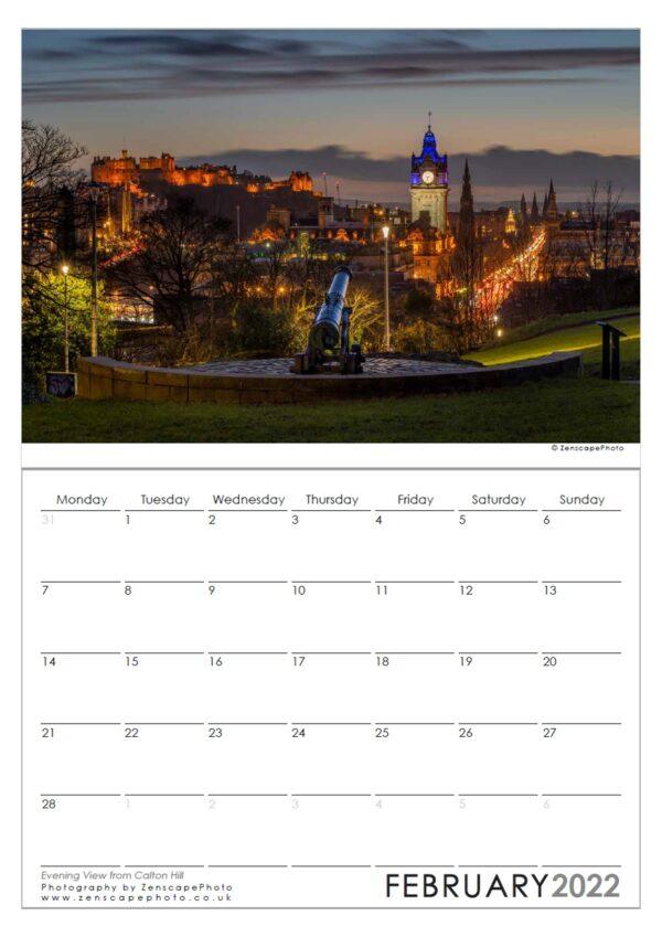Edinburgh Calendar 2022 Edinburgh Skyline at night from Calton Hill. Balmoral Hotel