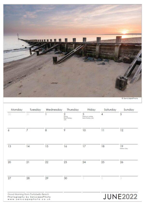 Edinburgh Calendar 2022 Portobello Beach sunrise Scotland