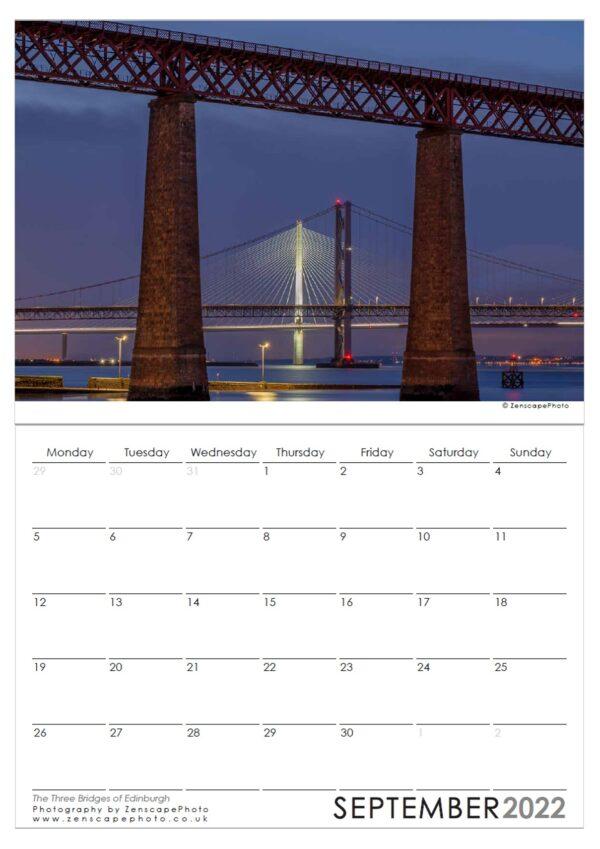 Edinburgh Calendar 2022 Forth Bridge Edinburgh at night. Bridges of Edinburgh.